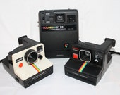 Vintage Poloroid Cameras, Set of Three, Colorburst 50, Kodak Instant Camera, Made in the USA, Photogaphy Poloroid Land Camera,