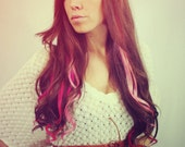 Pink Valentine, Rainbow, Ombre Human Hair Extensions, Colored Hair Extension Clip, Hair Wefts, Clip in Hair, Tie Dye Hair Extensions