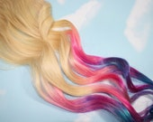 Festival Hair, Pastel Tie Dye Tips,Human Hair Extensions. Colored Hair Extension Clip, Hair Wefts, Clip in Hair, Tie Dye Hair Extensions