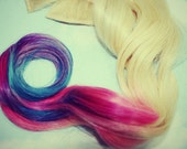 Pastel Dipped Dyed Tips, Pastel Tie Dye Tips, Human Hair Extensions. Dip Dyed Hair Extension Clip, Hair Wefts, Festival Hair
