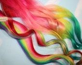 Rainbow Human Hair Extensions. Colored Hair Extension Clip, Hair Wefts, Clip in Hair, Tie Dye Hair Extensions, Dip Dyed Hair