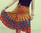 Hippie Orange Peacock Wrap Skirt, Wrap Dress, Boho, Hippie, Gypsy, Magic Skirt, Sunburst, Peacock Print, Skirt, Bohemian, Spring