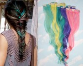 Valentine's Day Hair, Colored Hair Extensions, Free People Inspired Colored Fishtail Braid, Human Hair, Turquoise Hair, Pink Hair