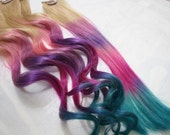 Festival Tie Dye Hair Tips, Dirty Blonde, Human Hair Extensions, Colored Hair Clip, Hair Wefts, Clip in Hair, Dip Dyed Ombre Hair