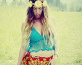 Handmade Hippie Flower Headband, Scrap Braided Fabric, Leather Wrap Tie Headband, Festival Headband, Floral Headpiece,