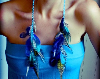 Handmade Extra Long Blue Feather Chain Earrings,15 inches long, Made with Blue Rooster Hair Feathers Extensions-Feather Symbolism