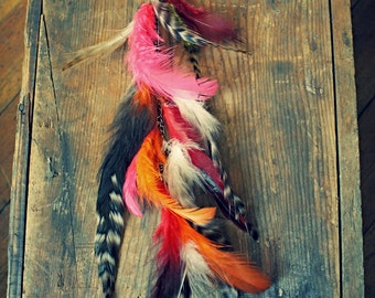 Handmade Feather Hair Extension, Single Feather Earring, Feather Earrings, Long Feathers, Festival Accessories, Pink, Orange