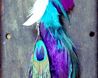 Long Single Feather Chain Earring OR Feather Hair Clip, Feather Extension-10 inches long-Feather Symbolism