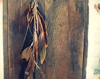 Autumn Bisque, Handmade Natural Extra Long Chain Feather Hair Extension Clip, 16 inches, or Single Feather Earring, Grizzly Feathers