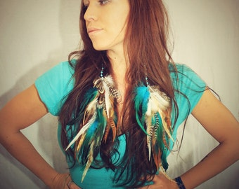 The Lost Mermaid, Handmade Extra Long Chain Feather Earrings Turquoise 14 inches long-Feather Symbolism