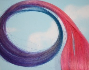 Pastel, Tie Dye Human Hair Extensions, Colored Hair Extension Clip, Hair Wefts, Clip in Hair, Ombre Hair,  Festival Dipped Dyed Hair
