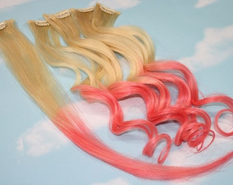 Peachy Pink Dip Dyed Hair Extensions For Blonde Hair, 20-22 inches long, Clip In Hair Extensions, Hippie Hair, Pastel Festival Hair