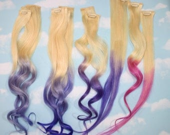 Handmade Ombre Dip Dyed Human Hair Extensions, Remy Clip in Hair, Tye Dye Tips, Colored Hair, Rainbow Hippie Hair
