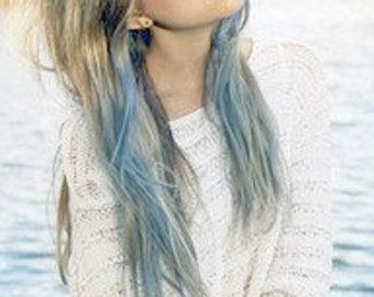 Light pastel dip dyed hair unicorn clip in hair extensions light blue dip dyed hair extensions for brunette hair 20 22 inches long pmusecretfo Gallery