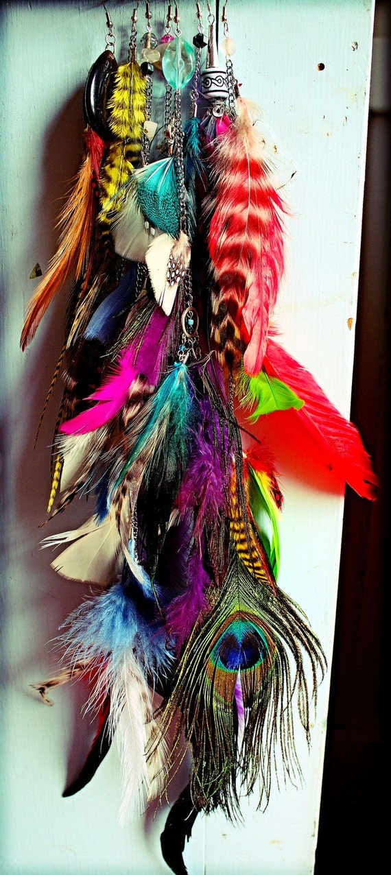 """Design your own, Feather Symbolism,  Handmade Extra Long Single Chain Feather Earring or Feather Hair Clip Extension, 12"""" long, YOU CHOOSE"""