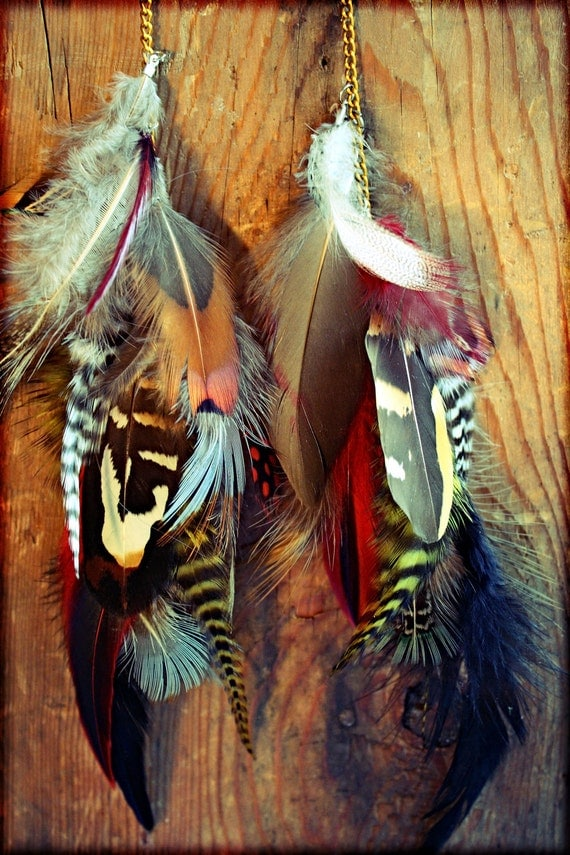 Natural Long Feather Chain Earrings-12 inches long-Feather Symbolism-Tribal, Hippie, Bohemian