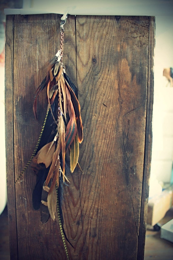 Autumn Bisque, Handmade Natural Extra Long Chain Feather Hair Extension Clip, 12 inches, or Single Feather Earring, Grizzly Feathers