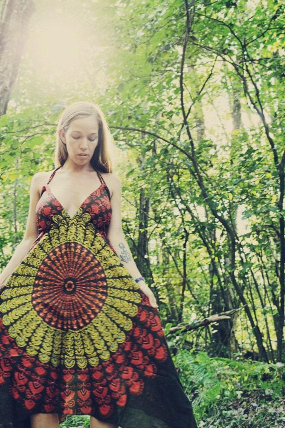 Autumn Hippie Dress, Long  Maxi, Bohemian, Tapestry, Organic, Sundress, Scarf Dress, Chakra Fairy Dress, xsmall, Small