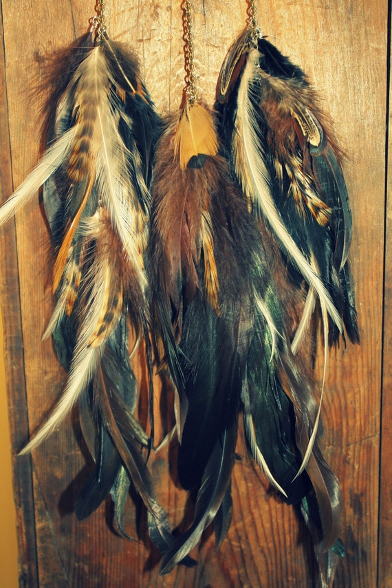 Autumn Night, Handmade Natural Extra Long Chain Feather Hair Extension Clip 17 inches long