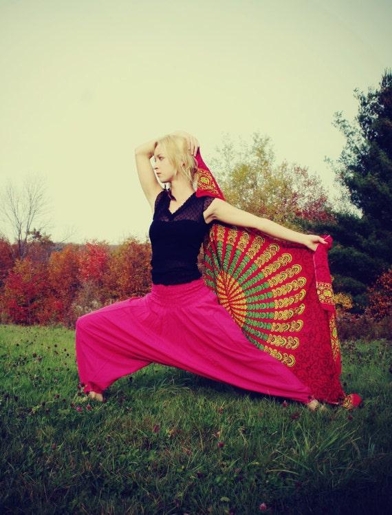 Handmade Solid Pink Harem Pants, Gypsy Pants, Aladdin, Romper, Genie, Boho, Hippie,Yoga, Wide Leg, Purple Pants-Wear Two Different Ways
