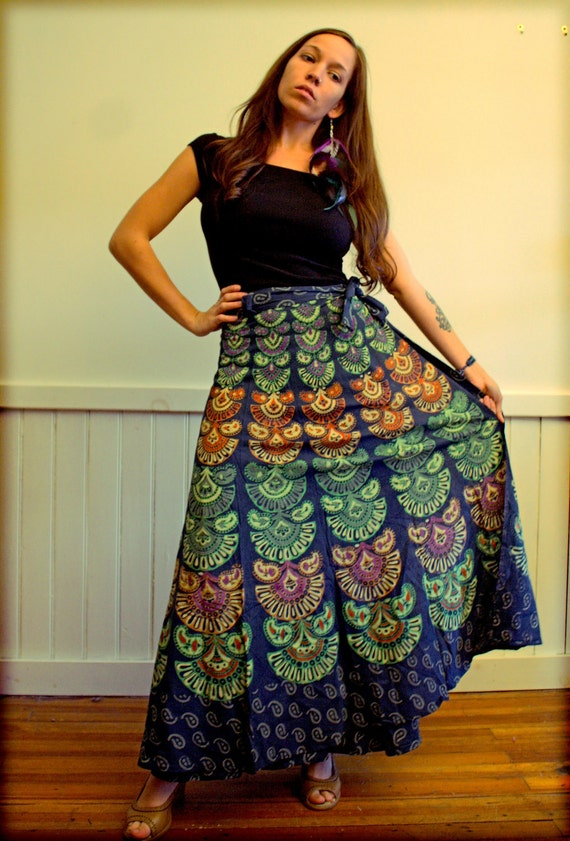 Handmade Peacock Skirt, Hippie Wrap Skirt, Bohemian Skirt, Cotton, Tapestry, Wrap Skirt, Wrapron, Sundress, Tribal Sun, Moon, magic skirt