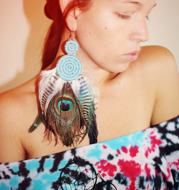 Handmade Extra Long Single Feather Earring, Tribal Feather Earring, Made with Grizzly Rooster and Peacock Feathers-Feather Symbolism