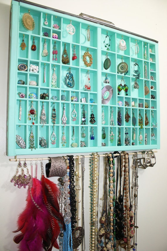 Handmade type drawer, necklace display, accessories storage, Unique Earring Holder, Gift for her, jewelry box, type tray jewelry display