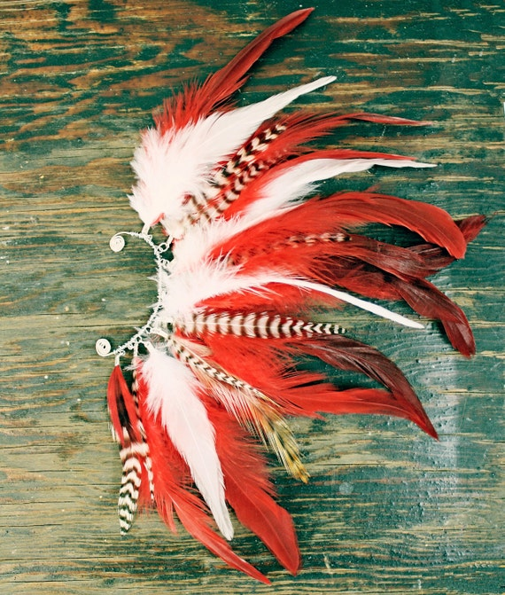 The Rising Phoenix, Handmade Feather Ear Cuff, Feather Earrings, Red, Sexy, Grizzly Feathers, Hippie, Bohemian, Tribal, Aztec