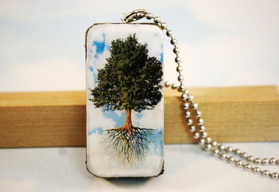 Handmade, Tree of Life, Domino Pendant, Blue Sky, Tree, Tree Branches, Art Pendant, Recycled, Gift For Her, Valentine's Day