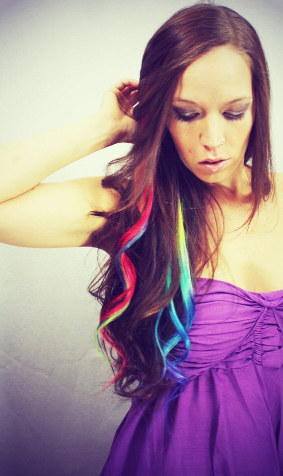 Rainbow Human Hair Extensions. Colored Hair Extension Clip, Hair Wefts, Clip in Hair, Tie Dye Hair Extensions