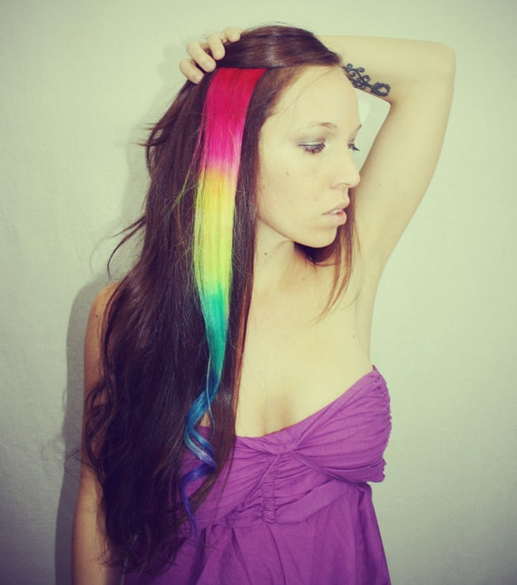 Rainbow human hair extensions colored hair extension clip rainbow human hair extensions colored hair extension clip hair wefts clip in hair tie dye hair extensions dip dyed hair pmusecretfo Gallery