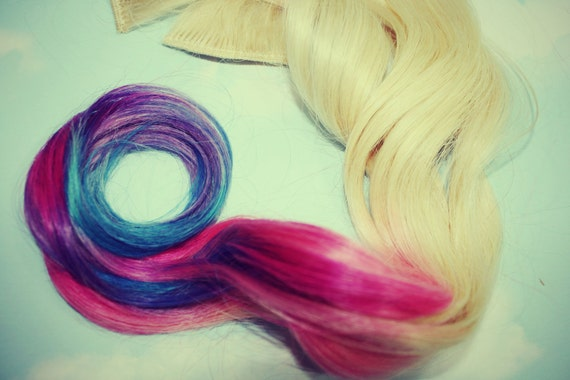 Rainbow Pastel Tie Dye Tips,Human Hair Extensions. Colored Hair Extension Clip, Hair Wefts, Clip in Hair, Tie Dye Hair Extensions