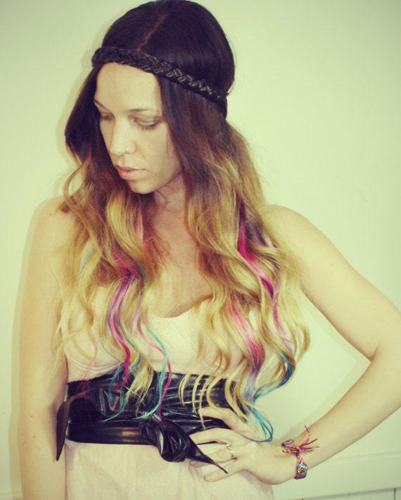 Pastel Tie Dye Hair Tips, Dirty Blonde, Human Hair Extensions, Colored Hair Clip, Hair Wefts, Clip in Hair, Tie Dye, Dipped Dyed Hair