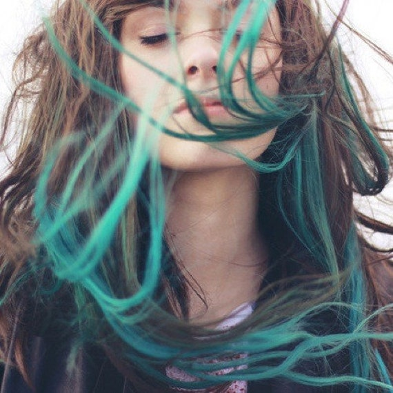 ombre turquoise blue tip dyed hair extensions dark by