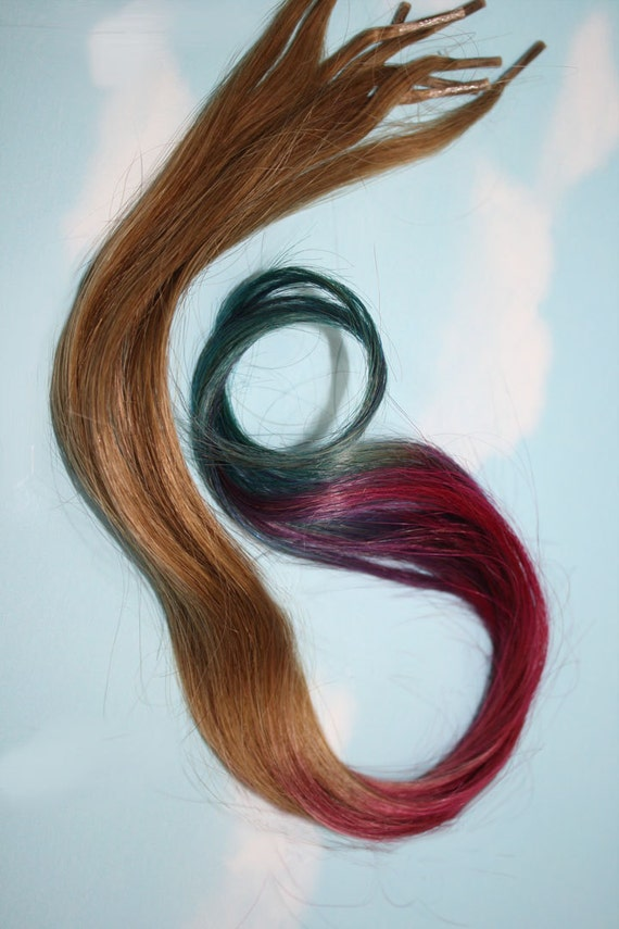 Ombre Pastel Tie Dye iTips, Pre Bonded Keratin Tip, Human Hair Extensions. Colored Hair, Dip Dyed Hair, Festival, Tie Dye Hair Extensions