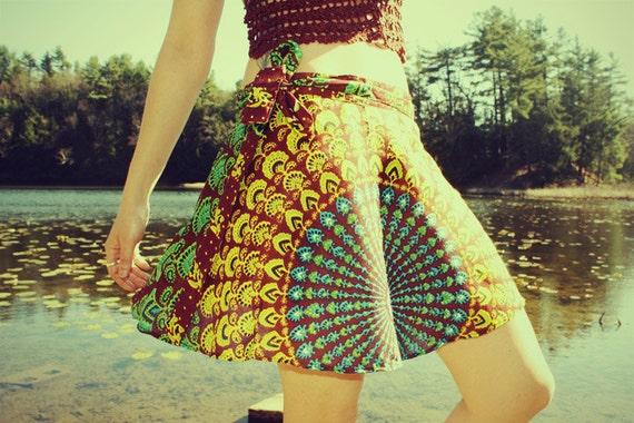 Mini Wrap Skirt, Fall Peacock Hippie Skirt, Cover-Up, Boho, Gypsy, Blue Sunburst, Peacock Print, Skirt, Bohemian, Festival Skirt