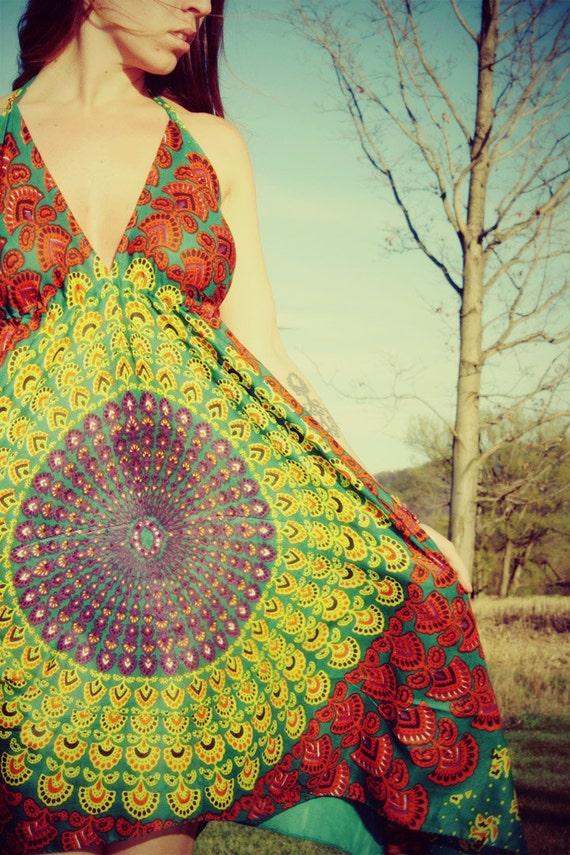 Handmade Hippie Dress, NEW LENGTH, Festival Dress, Short Summer Dress, Bohemian, Aztec, Peacock, Bridesmaid, Maternity, Spring, Mother's Day