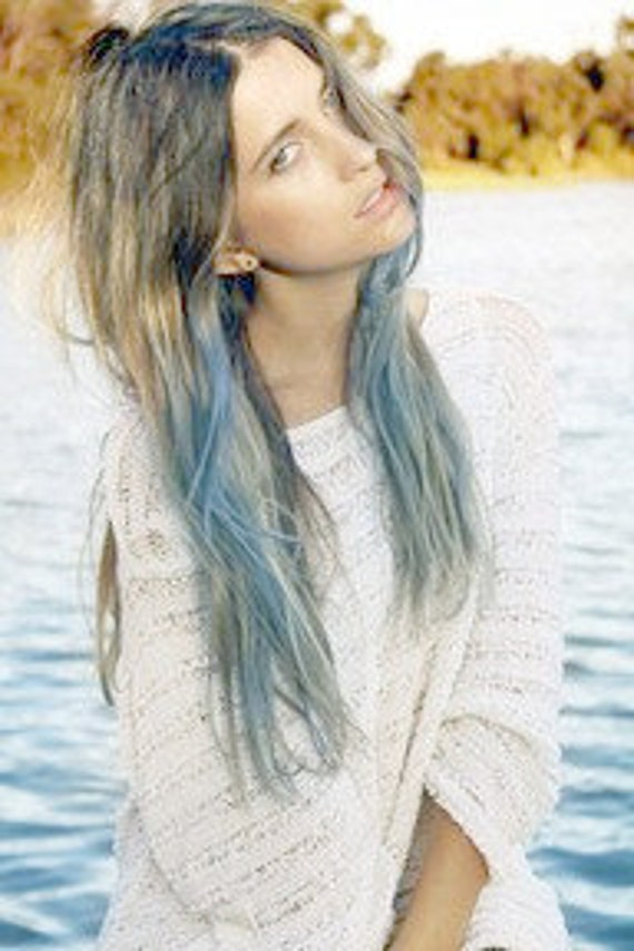 Light Blue Dip Dyed Hair Extensions For Brunette Hair, 20-22 inches long, Clip In Hair Extensions, Hippie Hair, Pastel Festival Hair