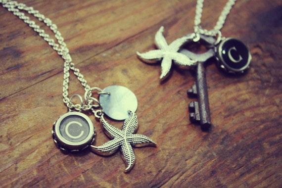 Design Your Own Vintage Typewriter Key & Large Skeleton Key Necklace-Personalized Gift-Initials-Recycled-Letters-Numbers