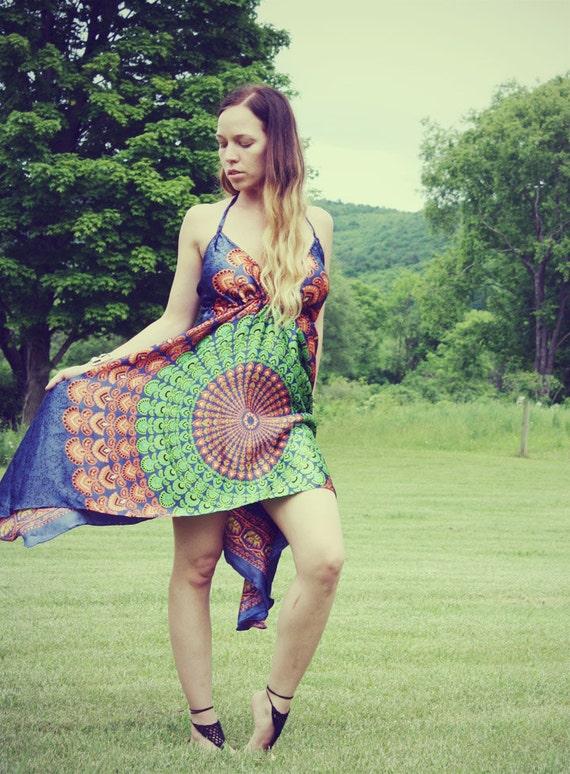 Handmade Hippie Dress, NEW LENGTH, Festival Dress, Short Summer Dress, Bohemian, Aztec, Peacock, Bridesmaid, Maternity, Summer, Festival