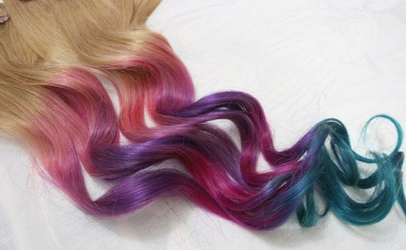 Festival Hair, Tie Dye Hair Tips, Dirty Blonde, Human Extensions, Colored Hair Clip, Hair Wefts, Clip in, Tie Dye, Ombre, Dipped Dyed Hair