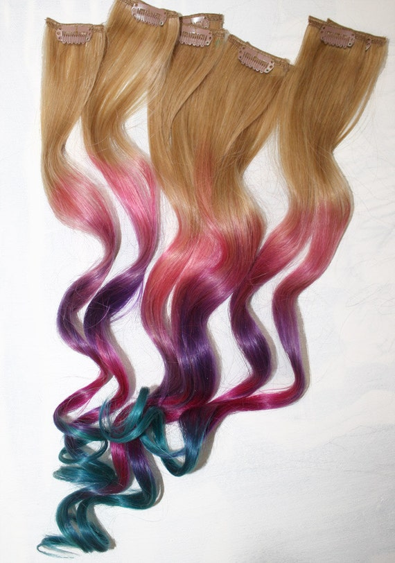 Ombre Tie Dye Hair Tips, Dirty Blonde, Human Hair Extensions, Colored Hair Clip, Hair Wefts, Clip in Hair, Tie Dye, Dipped Dyed Hair