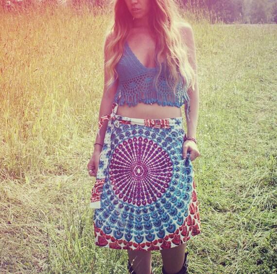 Handmade Hippie Peacock Wrap Skirt, Wrap Dress, Boho, Hippie, Gypsy, Magic Skirt, Sunburst, Peacock Print, Skirt, Bohemian, Bohemian