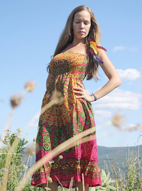 Handmade Hot Pink Hippie Dress Organic Dress Maxi Dress