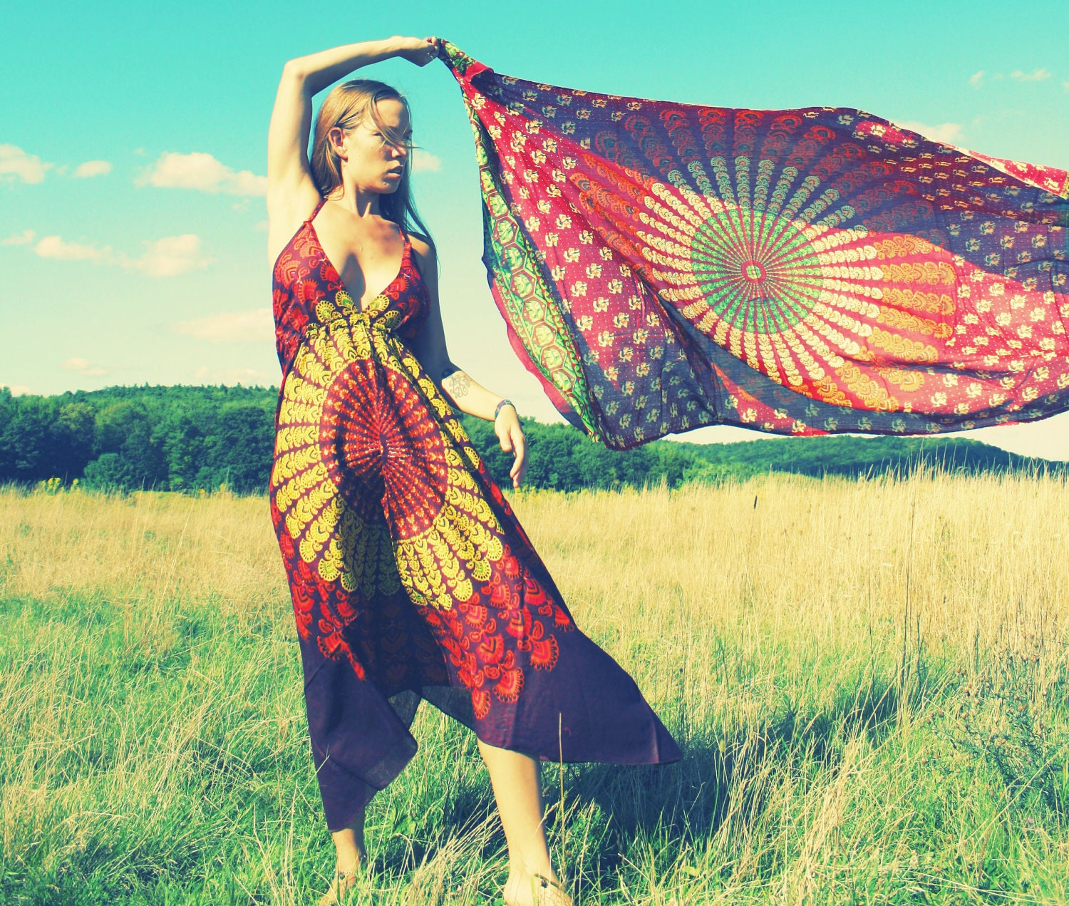 Handmade Hippie Dress Bohemian Scarf Dress Chakra Organic