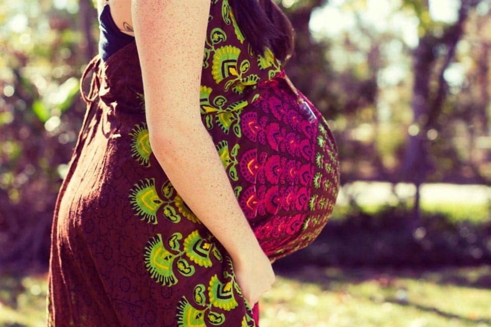 Handmade Maternity Dress Brown Hippie Dress Long Bohemian