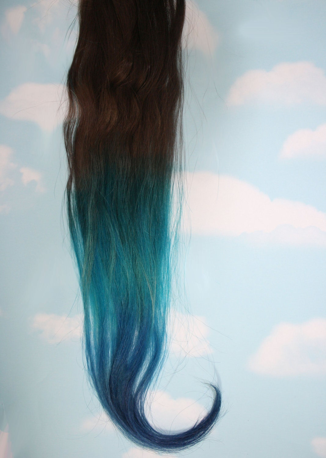 Burning Man Ombre Turquoise Blue Tip Dyed Hair Extensions