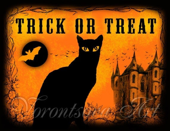 Decorating Ideas > Black Cat Halloween Decoration TRICK OR TREAT By VorontsovaART ~ 045651_Halloween Door Signs Printable