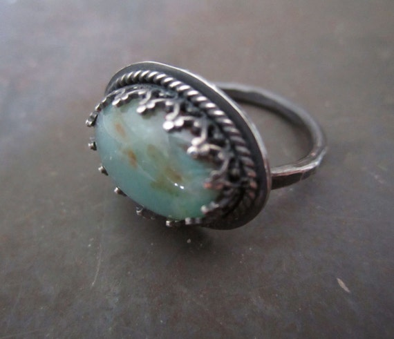 Peruvian Opal Sterling Silver Ring -  Avalon Sea Blue