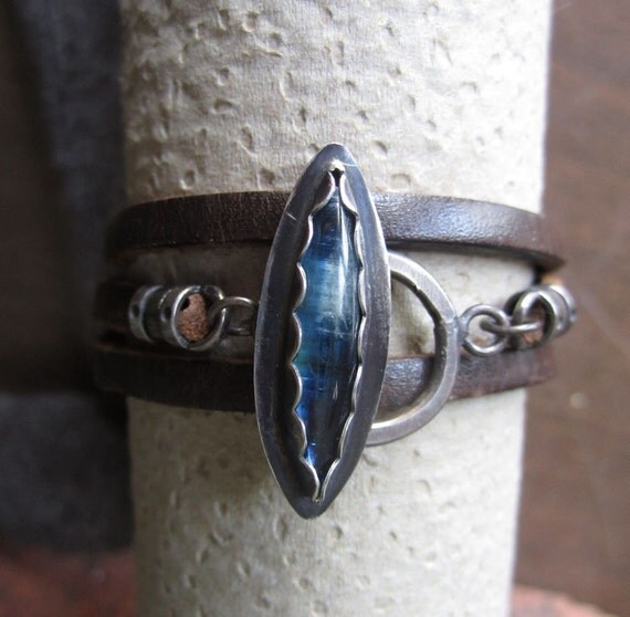 Kyanite Upcycled Leather Wrap Bracelet Sterling Silver